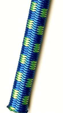 3/8 Royal Blue with Neon Green Tracer Polyester Bungee Cord