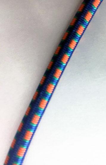 3/16 BLUE WITH GREEN & ORANGE FIBERTEX BUNGEE CORD #9005