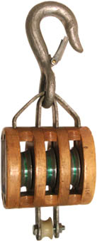 5 TRIPLE WOOD BLOCK, BRONZE BUSHED, LATCH HOOK, GALVANIZED, FOR 5/8 ROPE