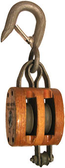 3 DOUBLE WOOD BLOCK, BRONZE BUSHED, LATCH HOOK, GALVANIZED, FOR 3/8 ROPE