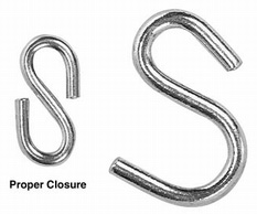 NO. 80 S-HOOK, ZINC PLATED, 1 3/4 X .250, WLL 250LBS.,DOMESTIC