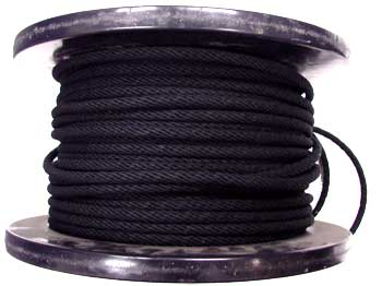 3/8 BLACK COTTON BELL CORD WITH WIRE CORE CENTER