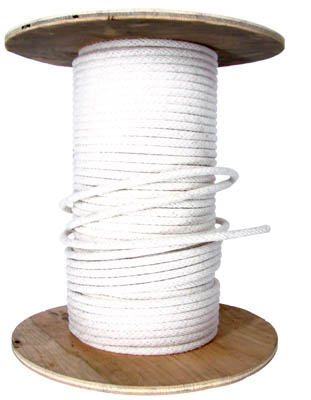 3/8 WHITE COTTON BELL CORD WITH WIRE CORE CENTER