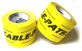 4 X 30 YARDS YELLOW WITH BLACK LETTERS CABLE PATH TAPE
