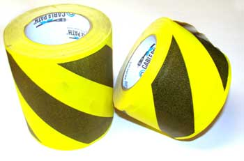 6 X 30 YARDS YELLOW/BLACK DIAGONAL CABLE PATH TAPE