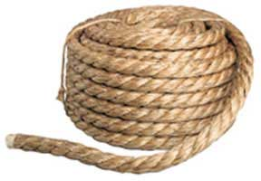 3 3 STRAND MANILA ROPE, APPROXIMATE MINIMUM BREAKING STRENGTH 57,500 LBS.