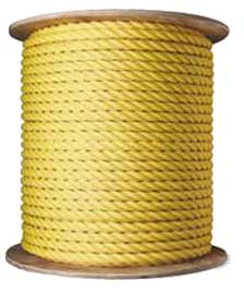 3/8 X 600 YELLOW 3 STRAND POLYPRO ROPE, APPROXIMATE MINIMUM BREAKING STRENGTH 2,440 LBS.