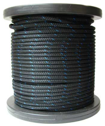3/8 BLACK STABLE BRAID ROPE, (DOUBLE BRAID POLYESTER) APPROX. MINIMUM BREAKING STRENGTH 4,800 LBS.