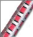 "1/2"" Multi-Colored (White with Red & Black) Fibertex Bungee Cord"