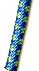 "3/8"" Royal Blue with Neon Green Tracer Polyester Bungee Cord"