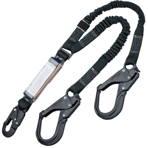 Rigger Safety 6\' Fixed Shock-Pack Y Lanyard w/ Black Snap and Rebar Hook